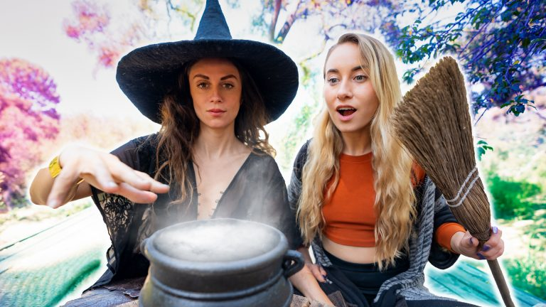 Modern Witches With Broom & Cauldron